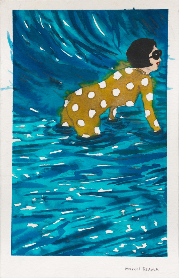 MARCEL DZAMA Get into the water, 2020 Ink, watercolor, and graphite on paper 21,5 x 14 cm