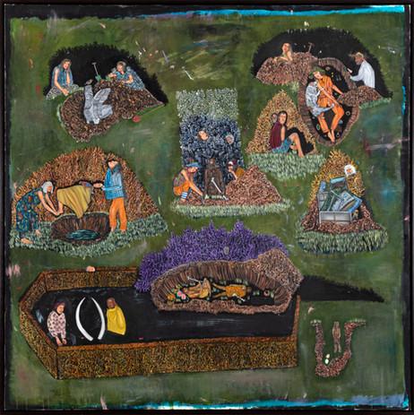 BRAM DEMUNTER Still life with treasures, 2020 - 2021 oil on canvas 150 x 150 cm