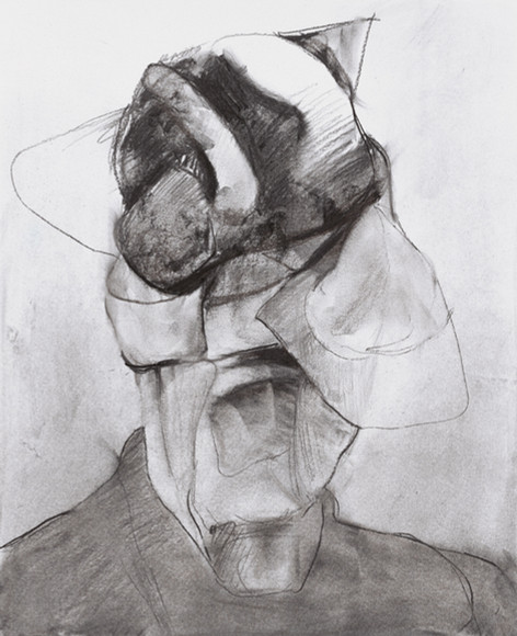 "ADRIAN GHENIE Study for ""Self-Portrait"", 2020 charcoal on paper 55 x 45 cm"