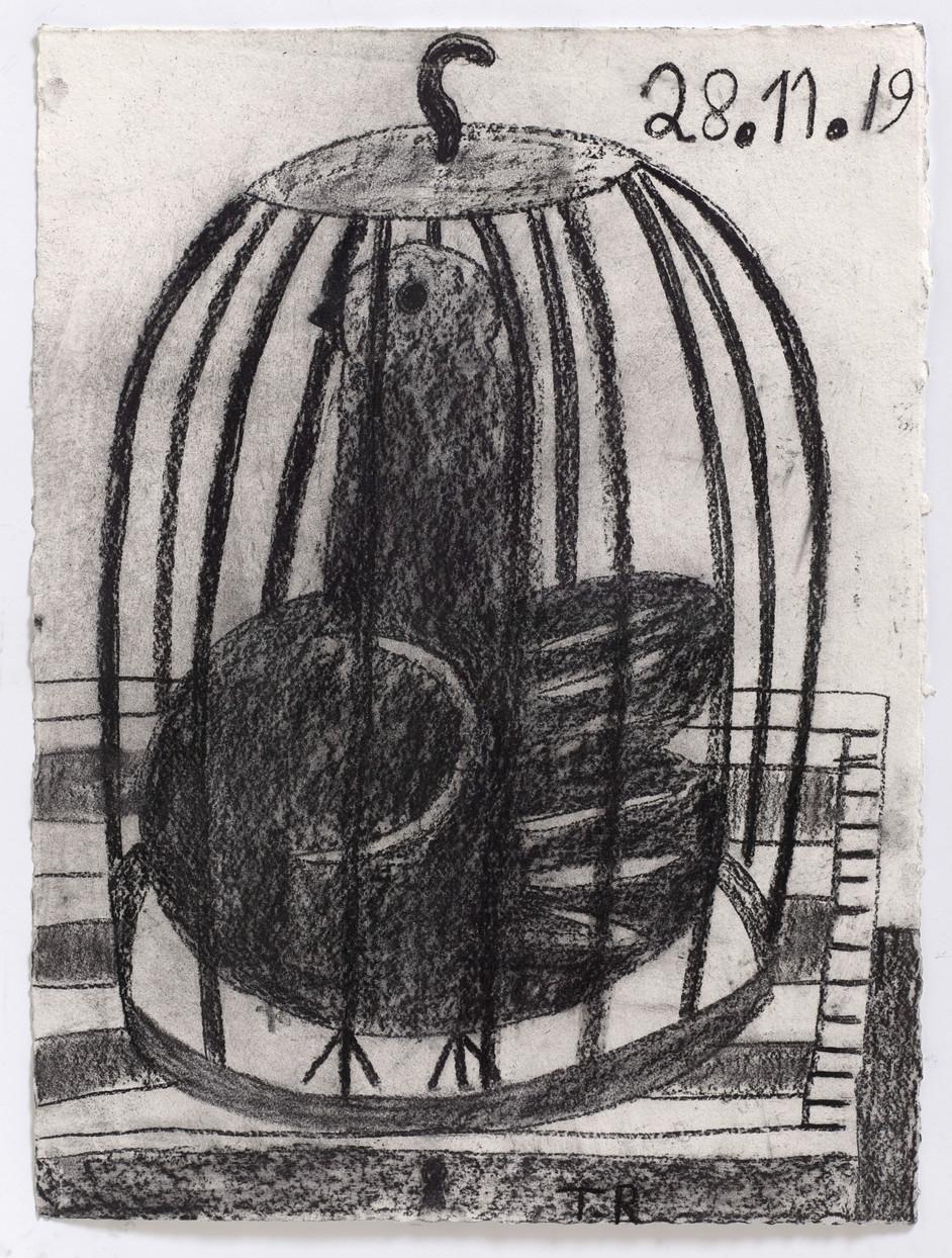 TAL R Hashish, 2019 charcoal on paper 75 x 56 cm