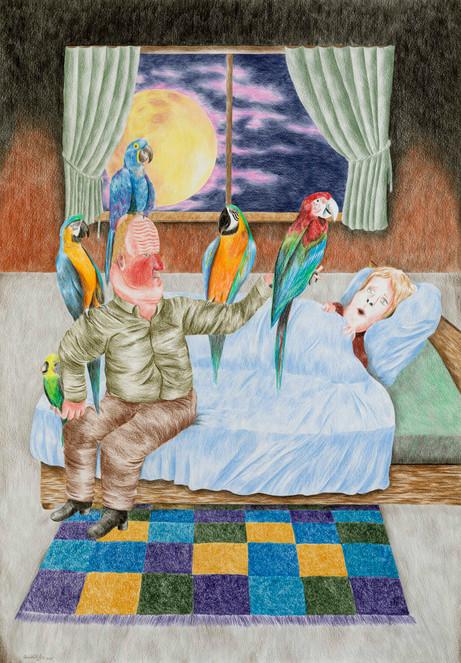DENNIS TYFUS My Last Wish Was To Meet Your Parents, Not Your Parrots!, 2020 colored pencil on paper 100 x 70 cm 110,3 x 80,8 x 4 cm (frame)