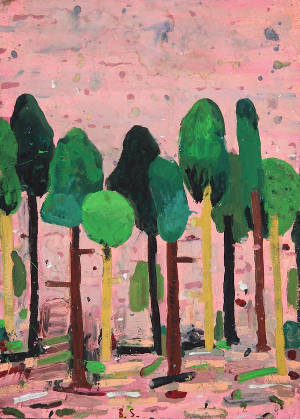 BEN SLEDSENS 10 Trees, 2016 gouache on paper 59,1 x 46,8 cm