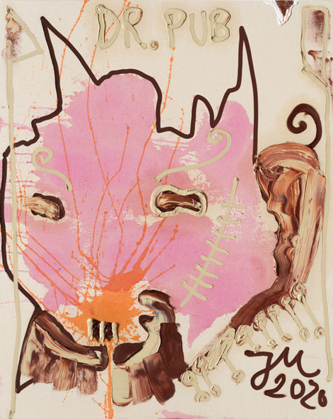 JONATHAN MEESE DER WICKERZ-GENERAL!, 2020 oil and acrylic on canvas 100,4 x 80,2 x 3,3 cm