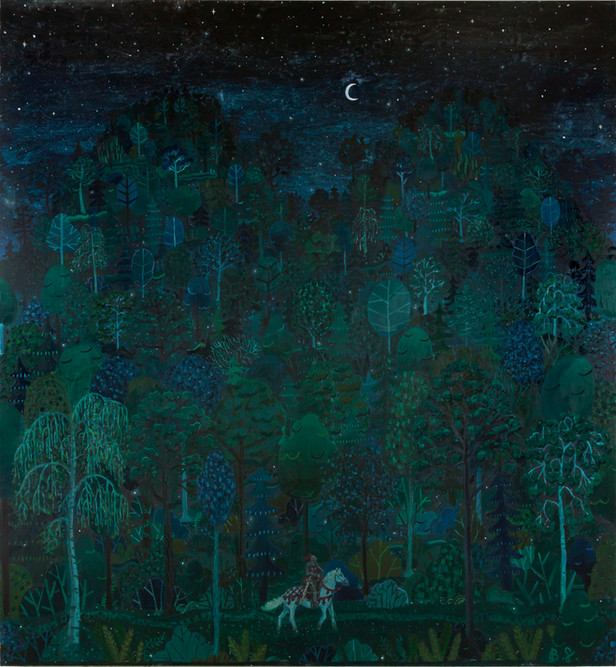 BEN SLEDSENS The Knight in the Night, 2018 oil and acrylic on canvas 200 x 185 cm