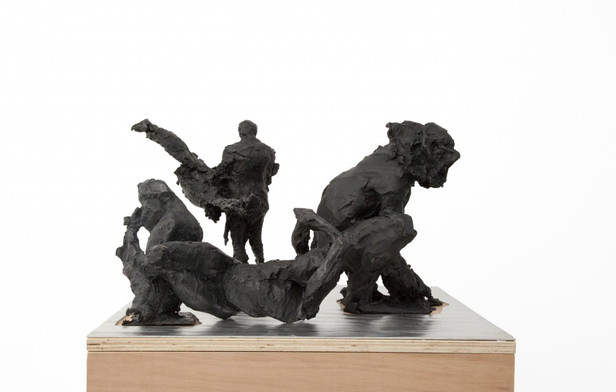 PETER ROGIERS, Soap - Business Man With Bird, Sparrow, Figure With Reclining Nude, 2017 159 x 49 x 60 cm (dimensions pedestal included)  3 figurines, patinated bronze