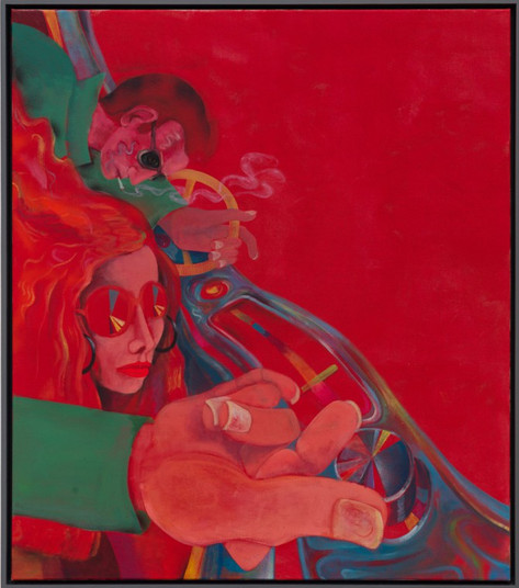 TOMASZ KOWALSKI, The Red Light, 2014 acrylic and spray on canvas 120 x 105 cm