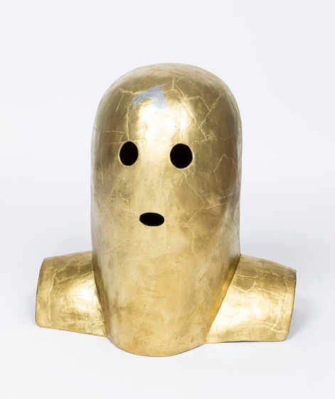 MARCEL DZAMA The night of gold, 2020 papier mâché and spray paint 38,1 x 38,1 x 22,9 cm