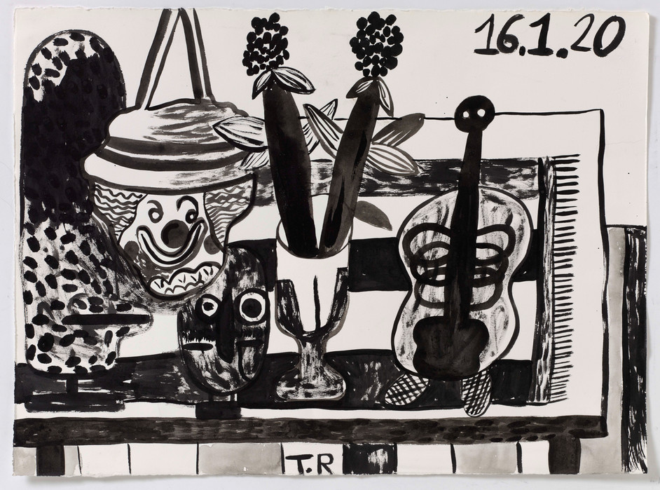 TAL R Owl, Luccheni, cinnamon, 2020 ink on paper 57 x 77 cm
