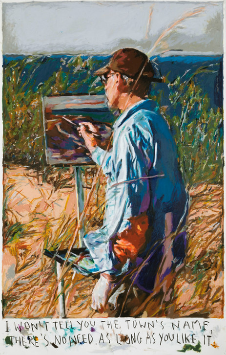 RINUS VAN DE VELDE I won't tell you the town's name,..., 2020 oil pastel on paper 169,9 x 110,5 cm