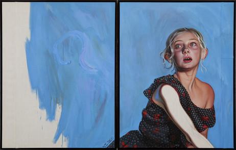 KATI HECK Doppelpunkt, 2018 oil on stitched canvas, artist frame 93 x 146 cm