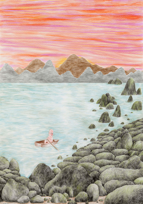 DENNIS TYFUS Crap! Wrong Island!, 2021 colored pencil on paper 100 x 70 cm 110,3 x 80,8 x 4 cm (frame)