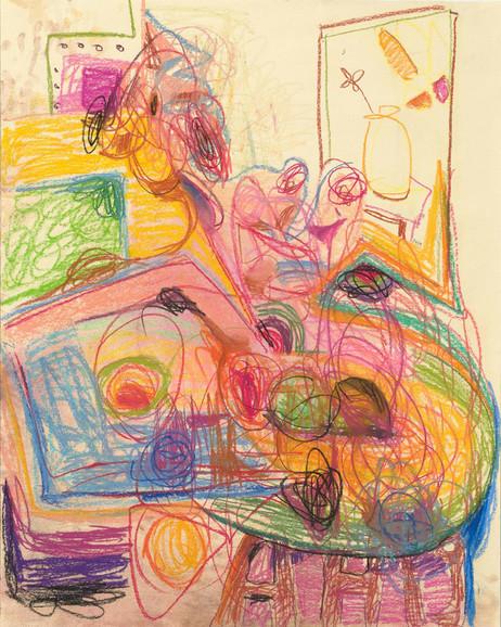 ANTON HENNING Skizze No. 4 für Pin-up mit Früchten, 2019 pastel on paper 107 x 85,5 cm, 134 x 111 x 4,5 cm (frame)
