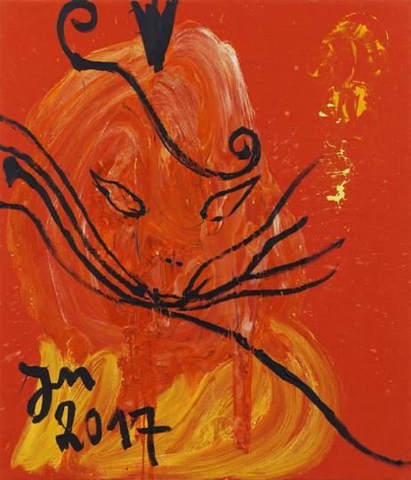 "JONATHAN MEESE DIE MAIKÖNIGIN ""DRALLI"", 2017 acrylic, Caparol-dispersion binder and acrylic paste on canvas 140,4 x 120,3 x 3,3 cm"