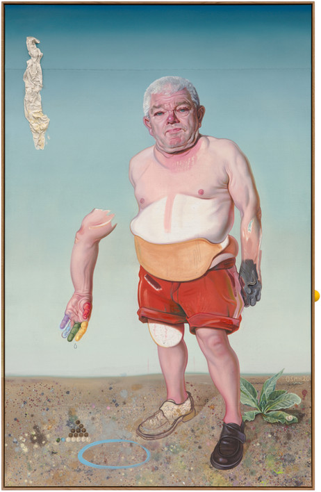 KATI HECK Ins Innen!, 2020 oil and toiletpaper on canvas, artist frame 220 x 140 cm