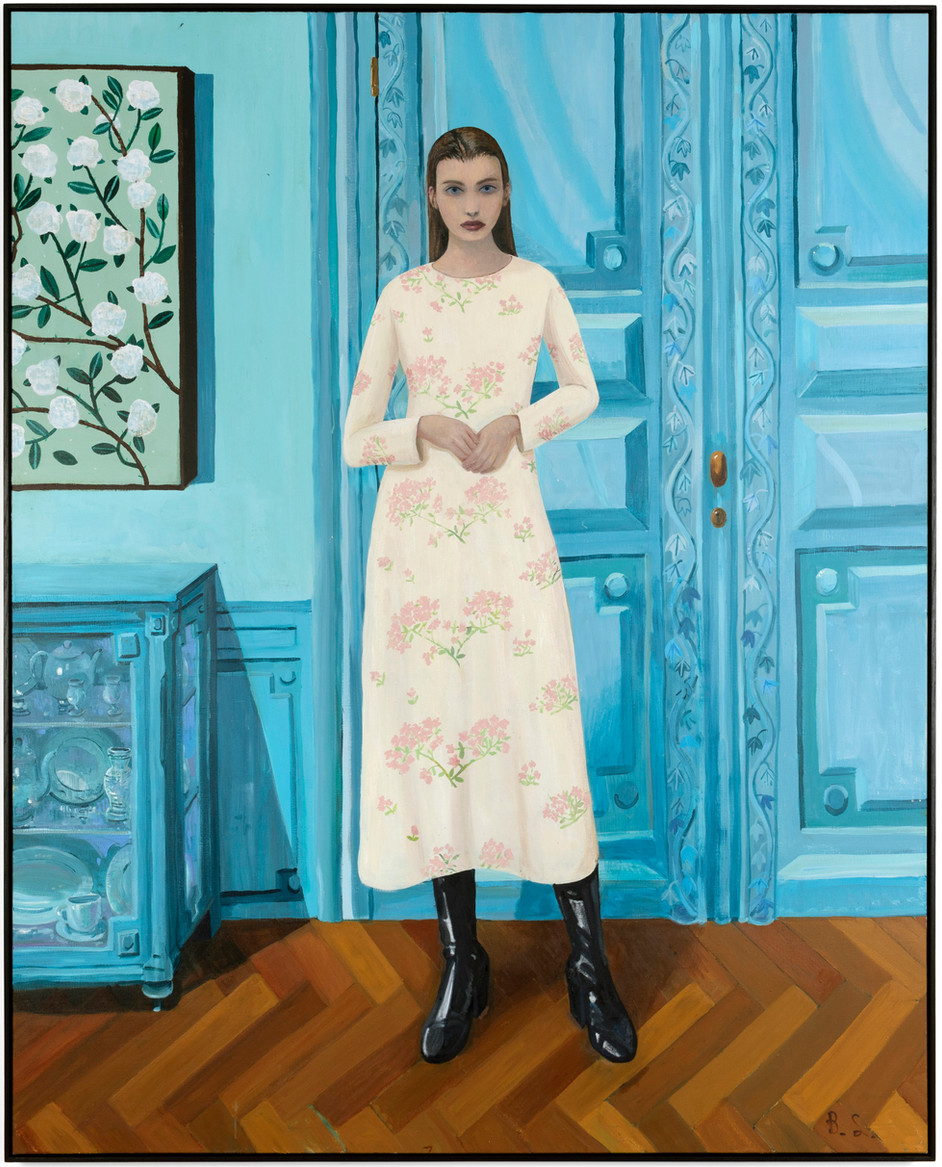 BEN SLEDSENS Girl in the Blue Room, 2020 oil and acrylic on canvas 200 x 160 cm