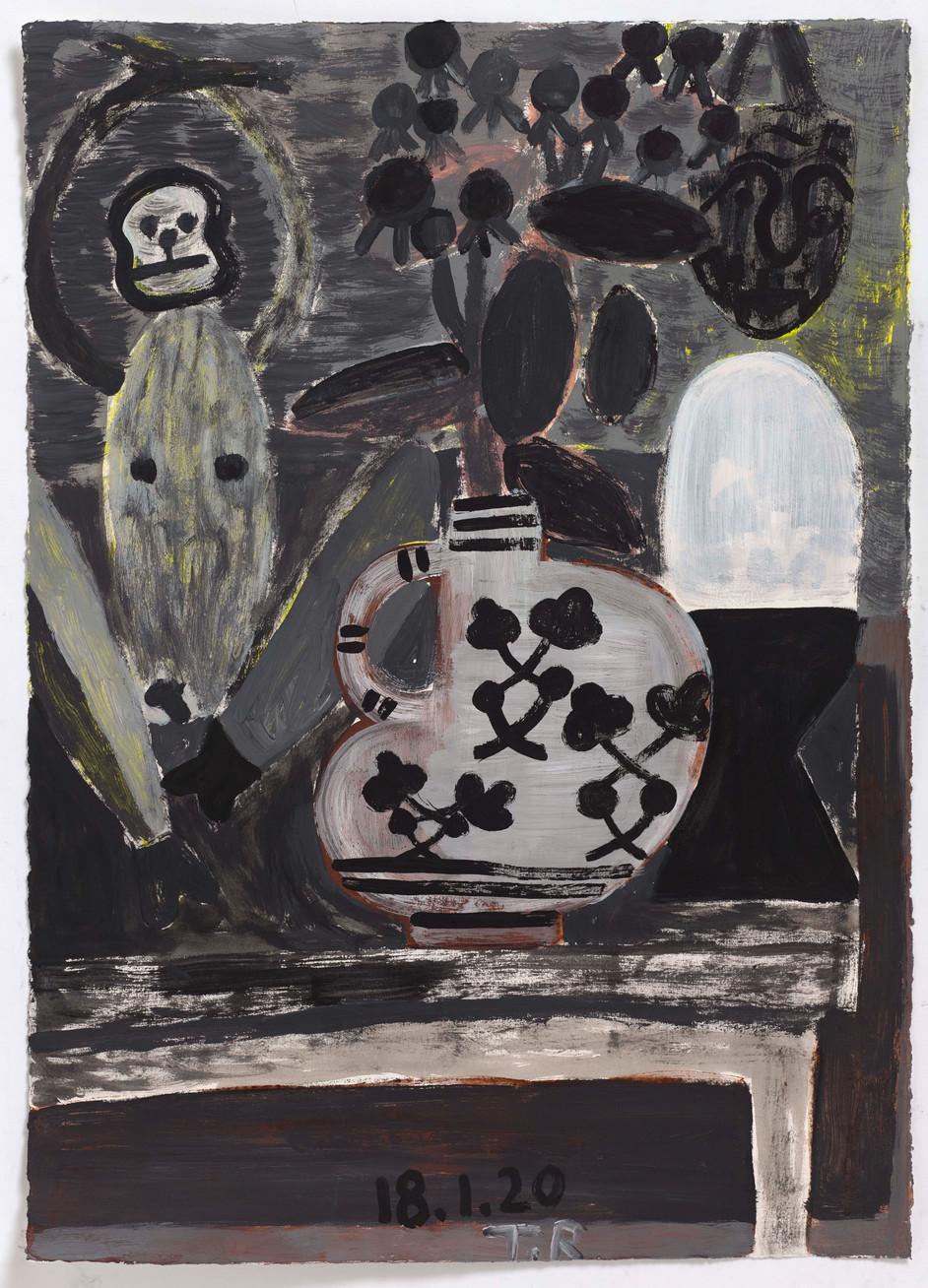TAL R Yellow king, Agatha, Emil, 2020 gouache on paper 76 x 55 cm