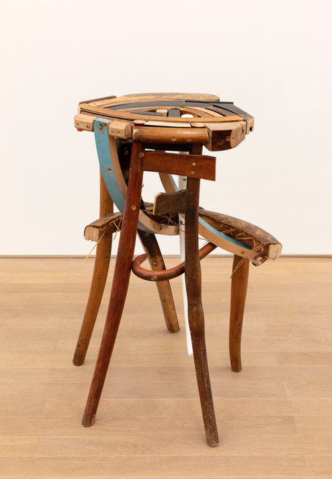 GELATIN Finn, 2019  wood, used furniture parts, metal   71 x 53 x 46 cm