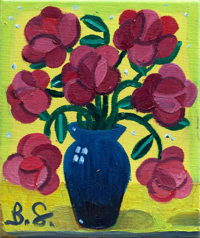 BEN SLEDSENS, Seven Red Flowers in a Vase, 2018