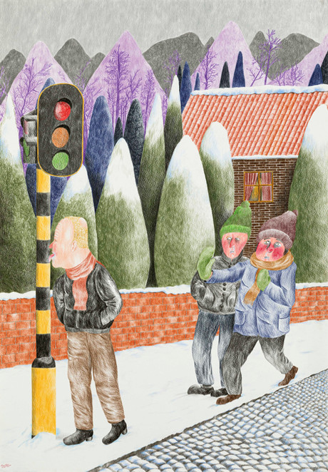 DENNIS TYFUS Stuck In The Middle With You, 2020 colored pencil on paper 100 x 70 cm 110,3 x 80,8 x 4 cm (frame)