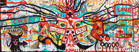 "JONATHAN MEESE DR. ""PUMP AWAY REALITY"" (HERZBUBE DE LARGE!), 2020 5 panels, acrylic on canvas 360 x 950 x 4 cm"