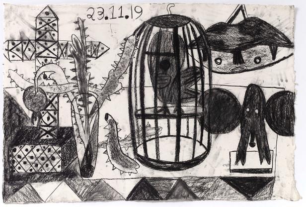 TAL R Thistle, Niobide, bengali light, 2019 charcoal and crayon on paper 88 x 131 cm
