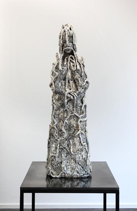 EDWARD LIPSKI Madonna, 2016 silverleaf on fibreglass resin, mild steel and acrylic 184,5 x 57 x 57 cm