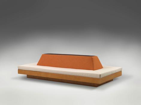 ANTON HENNING Möbelstück für Ausstellungsraum mit Oberlicht, 2009 wood, steel, foam and textile 300 x 146 x 80 cm