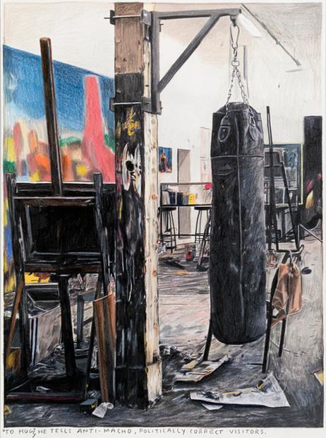 RINUS VAN DE VELDE To hug, he tells anti-macho, politically correct visitors., 2020 colored pencil on paper, artist frame 35,3 x 26,3 cm