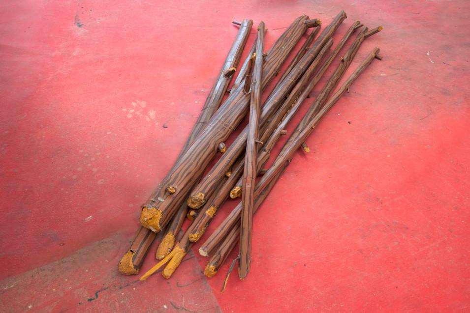 RINUS VAN DE VELDE,  Prop, Raft, Wooden Sticks, 2017