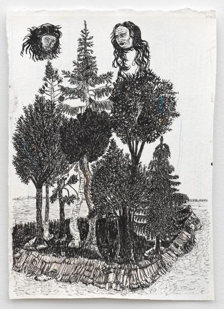 BRAM DEMUNTER Hotspot Island, 2021 Ink and color pencil on paper 24,7 x 17,4 cm
