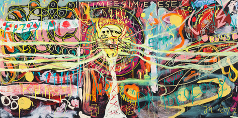 JONATHAN MEESE MUNDPARSIFAL'S MAUL, 2017 3 panels, oil, acrylic, acrylic modelling paste and acrylic gel on canvas 210,5 x 421 x 3,3 cm,