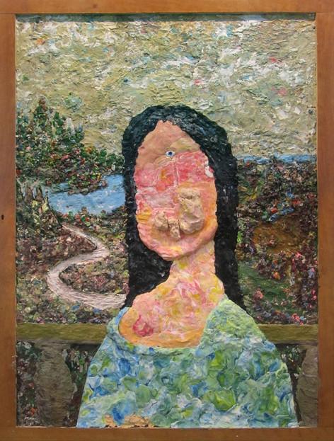 GELITIN Untitled (Mona Lisa), 2011 plasticine painting 180 x 136 cm