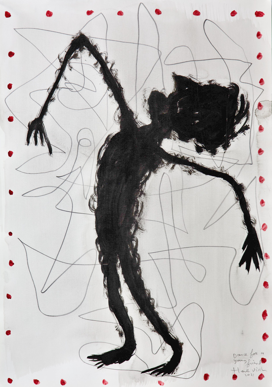 HENK VISCH Dance for a young friend, 2021 watercolor and pencil on paper 42 x 29,7 cm
