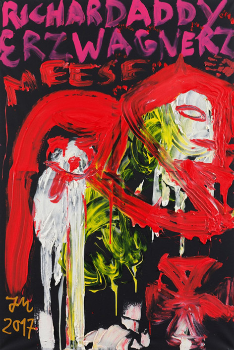"JONATHAN MEESE, DIE 2 SPIELKINDER IM ANGSTLOSEN RAUM  K.U.N.S.T.!"", 2017 oil, acrylic and acrylic modelling paste on canvas 210,5 x 140,3 x 3,3 cm"