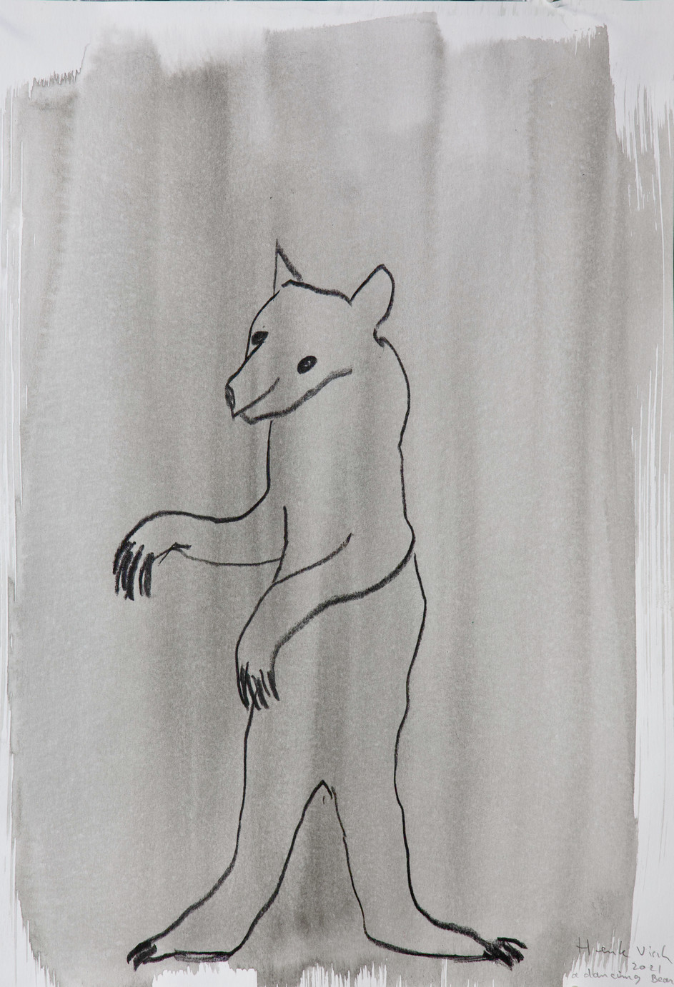 HENK VISCH A dancing bear, 2021 watercolor and pencil on paper 42 x 29,7 cm