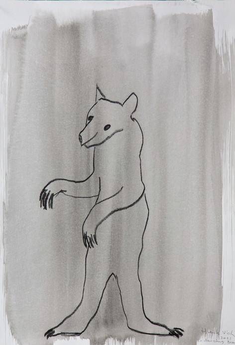 HENK VISCH A dancing bear, 2021 ink, crayon, and pencil on paper 42 x 29,7 cm