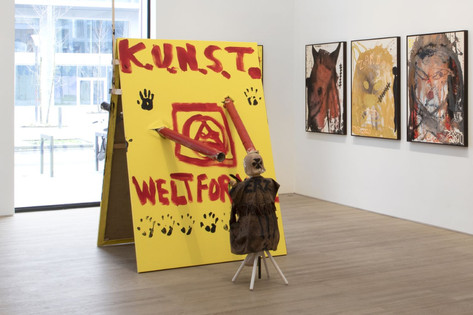 "JONATHAN MEESE SPIELKIND ""JOHNNY"" ASTRA(H)LT ""Z.U.K.U.N.F.T."" (LACH' DIE IDEOLOGIE WEG) (GEHT DOCH, GRINS' DOCH, GEHTS NOCH) (MASK OF FOGGY), 2020 mixed media, acrylic on canvas 395 x 280 x 145 cm, dimensions variable"