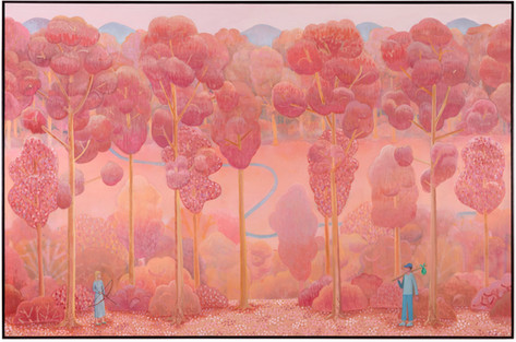BEN SLEDSENS The Huntswoman and the Wanderer, 2020 oil and acrylic on canvas 190 x 290 cm