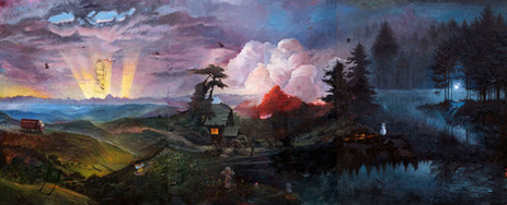 FRIEDRICH KUNATH One Minute You're Here, 2020-2021 oil on canvas, 244 x 594,5 cm