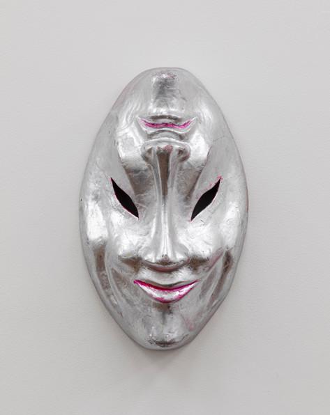 MARCEL DZAMA Jesters mask,  papier-mâché and spray paint 27,9 x 17,8 x 10,2 cm