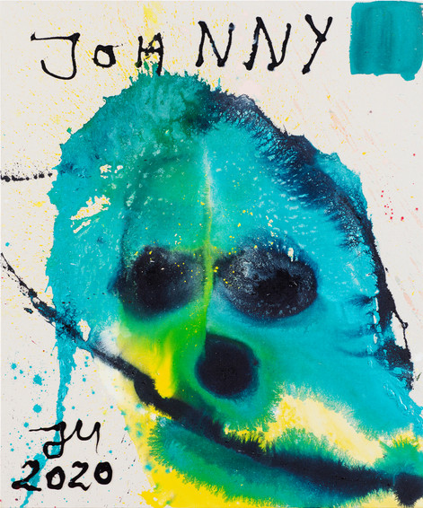 JONATHAN MEESE JOHNNY JOHNNIED ALLE(S)!, 2020 acrylic on coarse untreated cotton cloth 120,5 x 100,3 x 3,3 cm