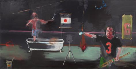 AARON VAN ERP Proefopstelling voor een installatie over beenham, 2015 oil on canvas 100 x 195 cm