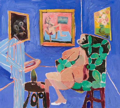 ANTON HENNING Interieur No. 561 (The Conversation), 2019 oil on canvas 180 x 200,3 cm