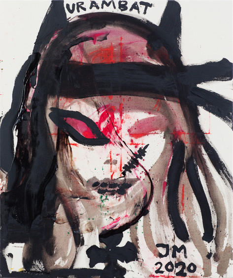 JONATHAN MEESE DEIN RAMBO RUFT NUR EINZELKÄMPFER AN!, 2020 acrylic and dispersion binder on coarse untreated cotton cloth 120,5 x 100,3 x 3,3 cm