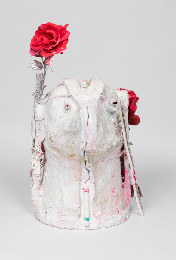 MARCEL DZAMA The Minotaur has traded in his horn for some flowers and very sharp thorns, 2020 plaster, wood, plastic flowers, plastic monkey, sea shell, spray paint, and twine 66 x 45,7 x 45,7 cm