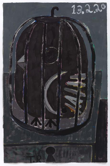 TAL R Olymp, 2020     gouache on paper  125 x 81 cm