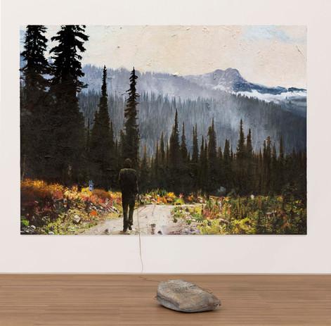 FRIEDRICH KUNATH Unspecified Sadness, 2020-2021 oil on canvas, 223,5 x 310 cm bronze sculpture, 61 x 30,5 x 76,2 cm