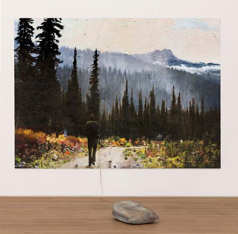 FRIEDRICH KUNATH Unspecified Sadness, 2020-2021 oil on canvas, bronze sculpture, 223,5 x 310 cm, 61 x 30,5 x 76,2 cm