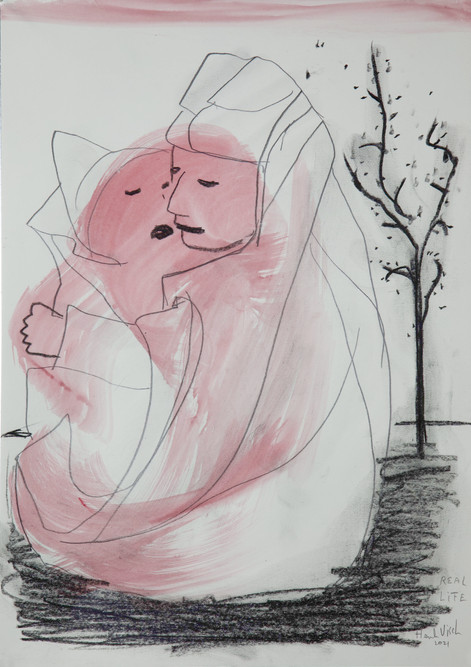 HENK VISCH Real life, 2021 watercolor, crayon, and pencil on paper 42 x 29,7 cm
