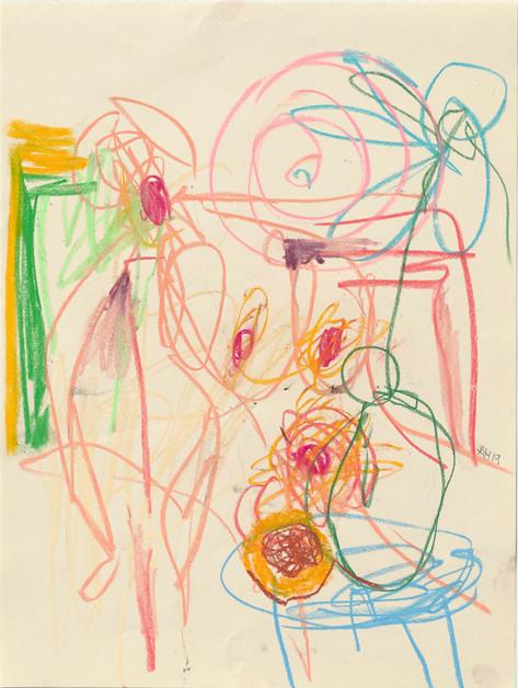 ANTON HENNING Skizze No. 2 für Pin-up mit Blumenstilleben und Früchten, 2019 pastel on paper 39,7 x 30 cm, 59 x 48 x 3,5 cm (frame)